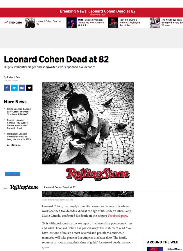 莱昂纳德-科恩去世